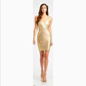 HERVE LEGER Gold Metallic Bandage Dress